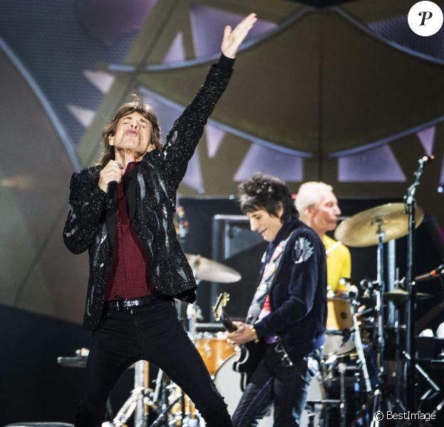Mick Jagger, Ronnie Wood et Charlie Watts - Les Rolling Stones en concert au Tele2 Arena à Stockholm. Le 1er juillet 2014