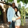 Kim Kardashian et Lamar Odom lors de leur premier anniversaire de mariage chez le producteur Irving Azoff, à Beverly Hills, le 27 septembre 2010