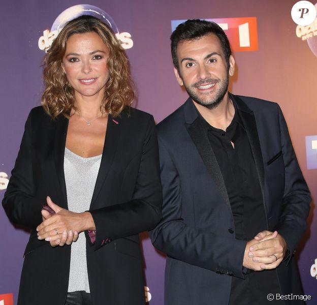 Laurent Ournac et Sandrine Quétier (animateurs de l'émission) - Photocall Danse avec les stars 6 devant TF1 à Boulogne-Billancourt, le 7 octobre 2015.