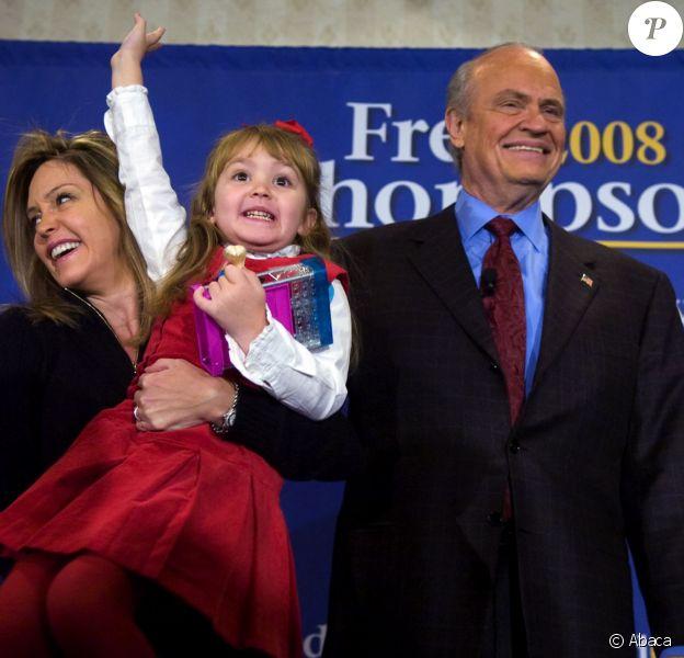 Fred Thompson avec sa femme et leur fille. En campagne à Des Moines, le 3 janvier 2008.