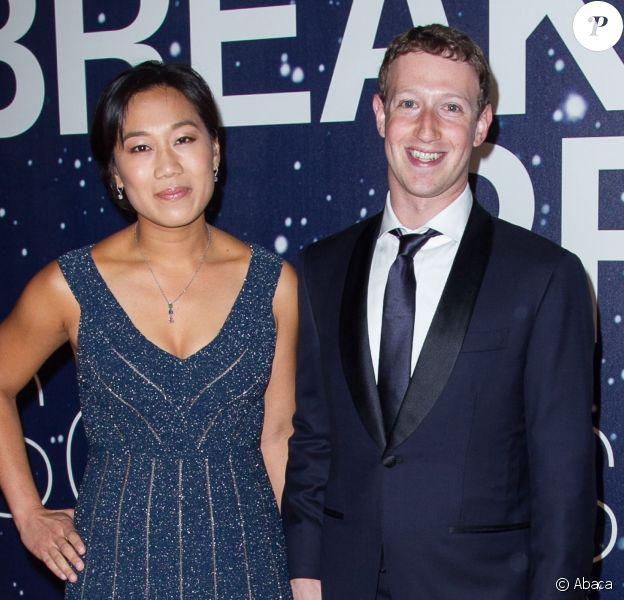 Priscilla Chan, Mark Zuckerberg lors de la 2e cérémonie annuelle des Breakthrough Prize Awards à Mountain View, le 9 novembre 2014