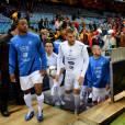 Patrice Evra, Mathieu Valbuena, Karim Benzema et Jérémy Ménez lors du match de qualification au mondial 2014 Espagne - France au stade Vicente Calderon de Madrid, le 16 octobre 2012