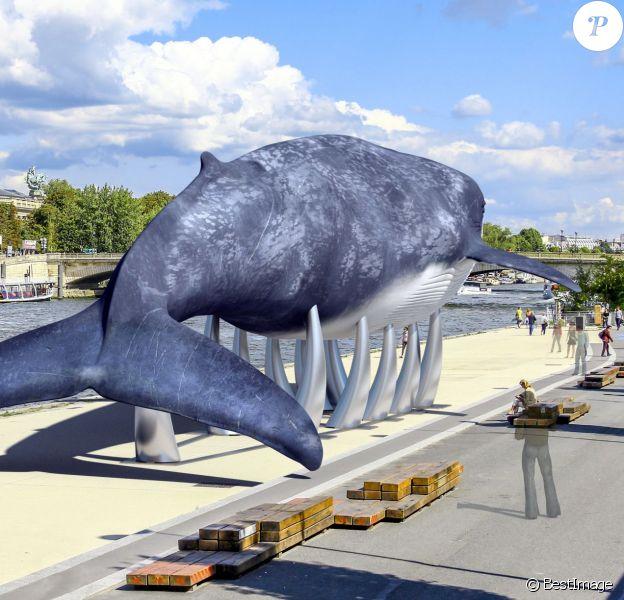 """En marge de la COP21, l'opération """"La baleine bleue"""" s'installe à Paris sur le Port du Gros Caillou le 30 novembre 2015."""