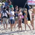Exclusif - Les mannequins Taylor Hill, Behati Prinsloo, Sara Sampaio et Martha Hunt jouent au beach-volley pour le tournage de l'émission VS Swim Special. Saint-Barthélemy, le 13 décembre 2015.