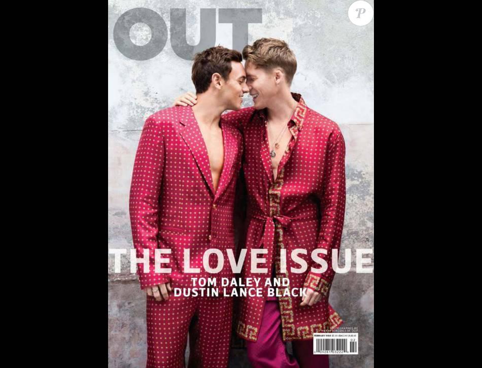 Tom Daley et Dustin Lance Black en  couverture de OUT magazine, Love Issue. Février 2016