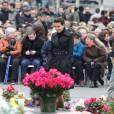 Najat Vallaud-Belkacem - Hommage aux victimes des attentats de janvier et novembre. Place de la République à Paris, le 10 janvier 2016.