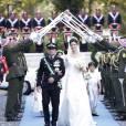 Photo du mariage du prince Rashid de Jordanie et de la princesse Zeina (Shaban) le 22 juillet 2011 au palais Basman à Amman. Trois ans après la naissance du prince Hassan, le couple a eu le 1er février 2016 un deuxième fils, Talal.