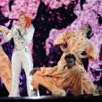 Lady Gaga pendant l'hommage à David Bowie lors des Grammy Awards, Staples Center, Los Angeles, le 15 février 2016.