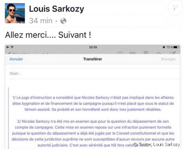 Louis Sarkozy soutient son père sur Twitter, le 16 février 2016.