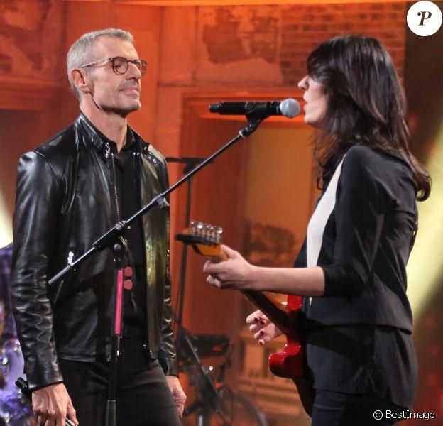 Exclusif - Lambert Wilson et La Grande Sophie, lors de l'enregistrement de l'émissionDu côté de chez Daveà Paris, diffusée le 21 février 2016 sur France 3 (tournage réalisé le 15 février 2016).