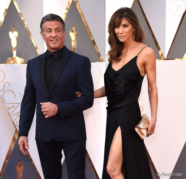 Sylvester Stallone et sa femme Jennifer Flavin - 88e cérémonie des Oscars au Dolby Theatre à Hollywood. Le 28 février 2016