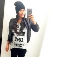 Amel Bent dévoile son baby-bump sur Instagram. Le 31 janvier 2016.