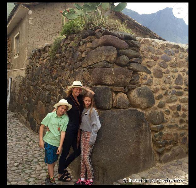 Gwyneth Paltrow a publié des photos de ses vacances en famille, avec ses enfants Apple et Moses, au Pérou. Photo publiée sur Instagram, le 3 mars 2016.