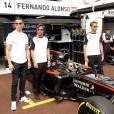 Cristiano Ronaldo, Fernando Alonso, Cara Delevingne, Jenson Button lors du Grand Prix de Formule 1 de Monaco le 24 mai 2015
