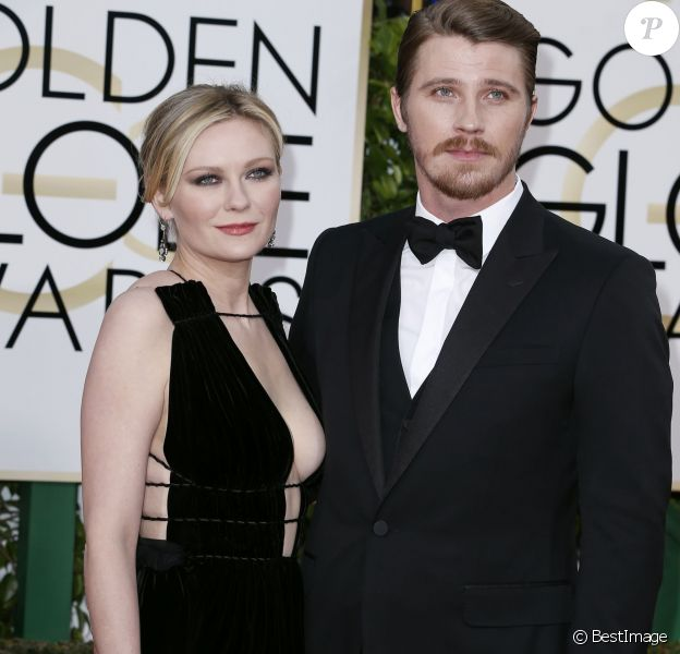 Kirsten Dunst et son fiancé Garrett Hedlund - 73e cérémonie annuelle des Golden Globe Awards à Beverly Hills, le 10 janvier 2016. © Olivier Borde/Bestimage