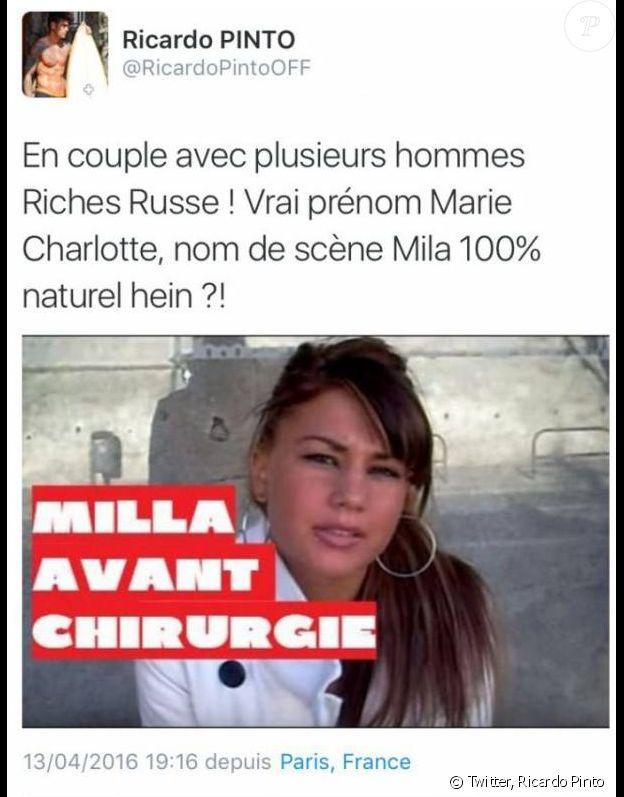 "Ricardo (""Les Anges 8"") clashe Milla. Avril 2016."