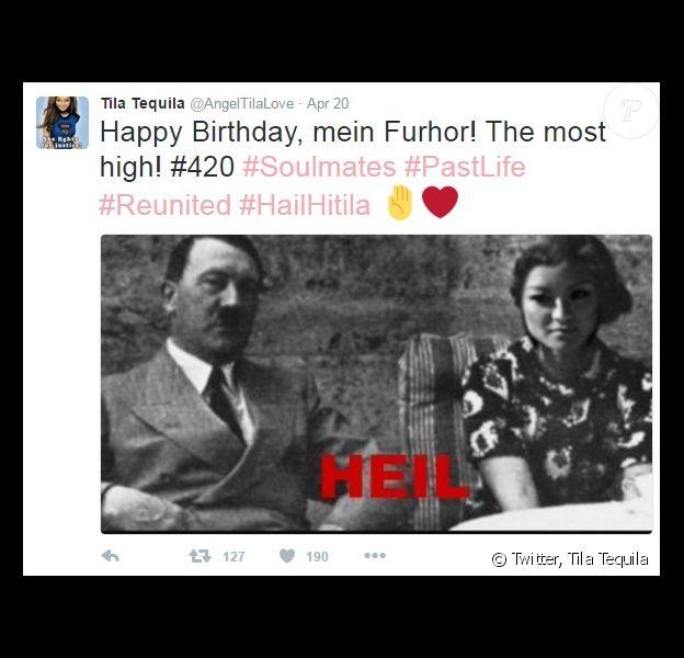 Tila Tequila faisant l'apologie d'Adolf Hitler sur son compte Twitter le 20 avril 2016