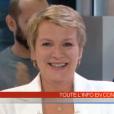 La journaliste Elise Lucet, en larmes, lors de ses adieux au JT de France 2, le vendredi 29 avril 2016.