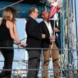 """Le prince Albert II de Monaco, Mike Horn et ses filles, ont assisté à la présentation de sa nouvelle expédition : """"Pole2Pole"""", à bord de son voilier Pangaea, amarré au Yacht Club de Monaco le 6 mai 2016. ©Bruno Bebert/Bestimage"""