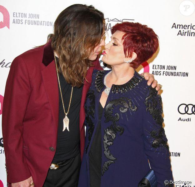 """Sharon et Ozzy Osbourne à la soirée """"Elton John AIDS Foundation Oscar Party"""" 2015 à West Hollywood, le 22 février 2015"""