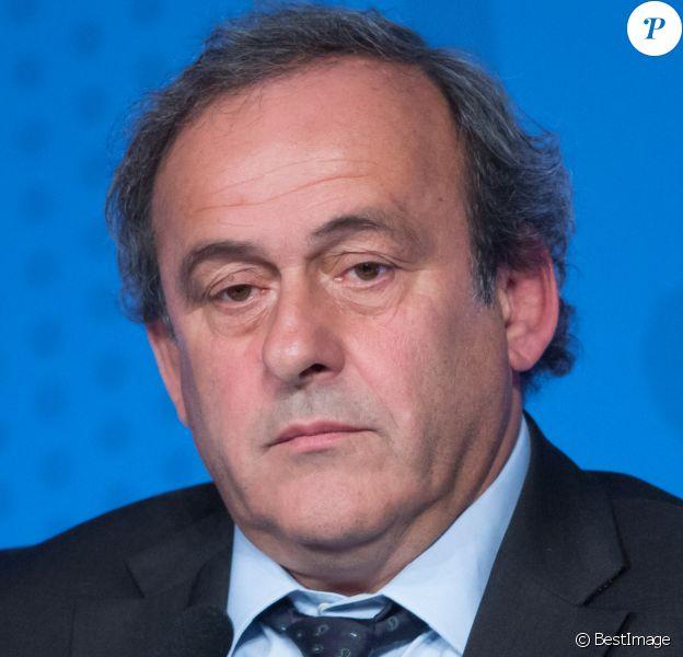 Michel Platini (président de l'UEFA) lors de la conférence de presse pour l'ouverture de la billetterie de l'Euro 2016 à Paris, le 10 juin 2015, qui se tiendra en France du 10 juin au 10 juillet 2016.