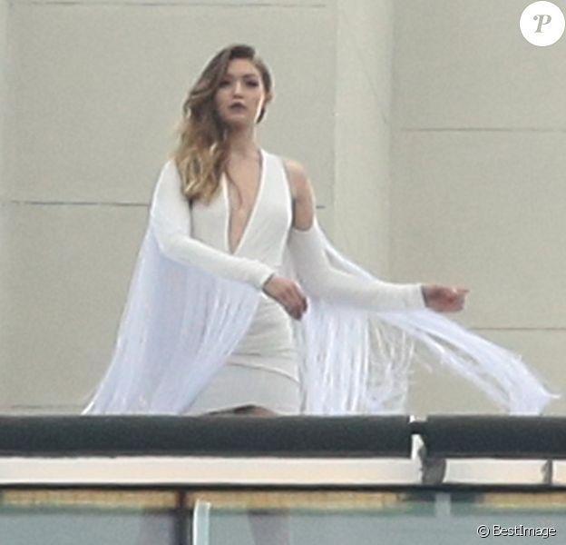 EXCLU - La sublime Gigi Hadid en shooting pour Maybelline à New York. Le 13 mai 2016