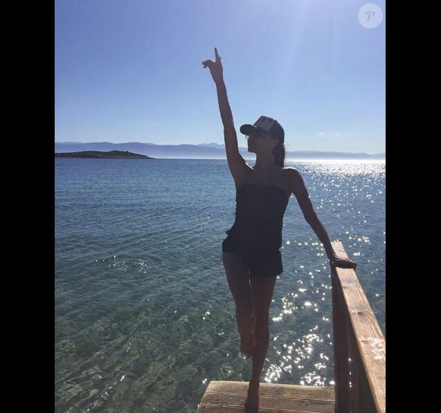 Victoria Beckham en vacances en famille en Grèce en juin 2016.