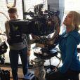 Rita Ora sur le tournage d'un nouveau volet de la saga Fifty Shades. Photo publiée le 19 mai 2016.