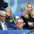 Helena Seger, femme de Zlatan Ibrahimovic, et leurs enfants Maximilian et Vincent ont assisté au match Suède - Irlande au Stade de France pendant l'Euro 2016 le 13 juin 2016. © Cyril Moreau / Bestimage