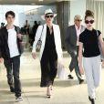 Catherine Zeta-Jones, Michael Douglas et leurs enfants Carys and Dylan à l'aéroport de New York le 14 juin 2016