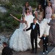 Giovanna Battaglia et Oscar Engelbert à leur mariage à Capri, Italie, le 10 juin 2016.