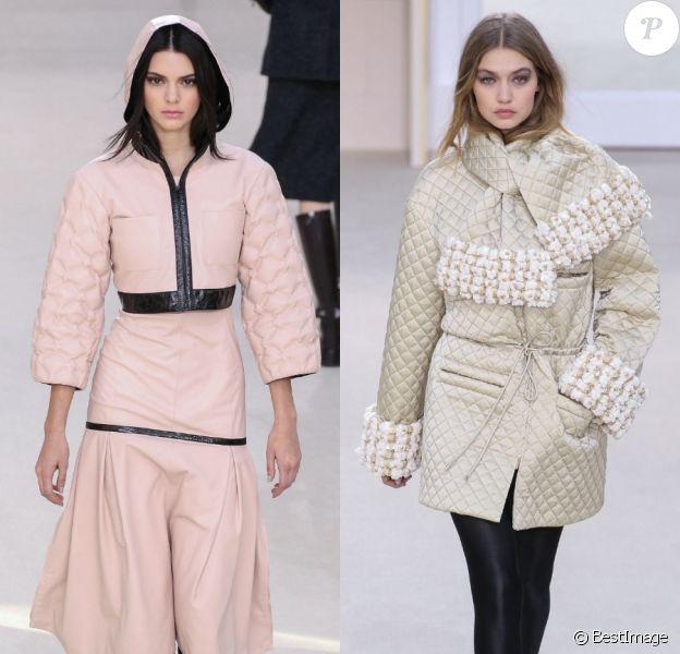 Kendall Jenner et Gigi Hadid au défilé Chanel collection prêt-à-porter automne-hiver 2016-2017 à Paris, le 8 mars 2016.