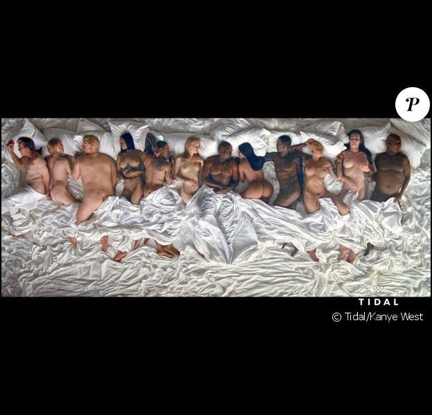 """Image extraite du clup """"Famous"""" de Kanye West, juin 2016. On y reconnaît notamment Taylor Swift, Kim Kardashian, Donald Trump, Anna Wintour, Rihanna et Caitlyn Jenner..."""