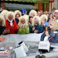 Laurent Luyat et Michel Polnareff - Le chanteur français Michel Polnareff fête son 72ème anniversaire en présence des danseuses du Moulin-Rouge et donne le départ de la deuxième étape de la 103ème édition de la course cycliste du tour de France le 3 Juillet 2016, entre Saint-Lo et Cherbourg-en-Cotentin, en Normandie. © Coadic Guirec / Bestimage