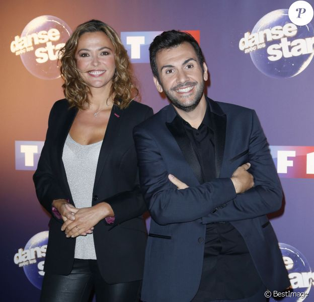 Laurent Ournac et la belle Sandrine Quétier - Photocall Danse avec les stars 6 devant TF1 à Boulogne-Billancourt, le 7 octobre 2015.