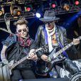 """Johnny Depp, Joe Perry - Concert des """"Hollywood Vampires"""" au parc d'attractions """"Gröna Lund"""" à Stockholm en Suède le 30 mai 2016."""