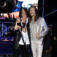 Joe Perry, Steven Tyler au défilé Roberto Cavalli collection Hommes printemps-été 2015 à Milan le 24 juin 2014