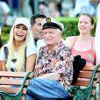Exclusif - Hugh Hefner et sa femme Crystal a Disneyland en Californie le 6 septembre 2013.