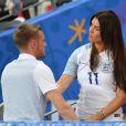 Jamie Vardy et sa femme Rebekah (Becky) lors du match Islande - Angleterre à Nice le 27 juin 2016 à l'Euro.
