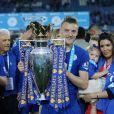 Jamie Vardy fêtant le titre de champion de Premier League de Leicester le 7 mai 2016.