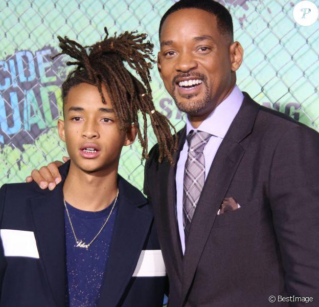 """Jaden Smith et son père Will Smith - Première du film """"Suicide Squad"""" à New York le 1er août 2016.© Sonia Moskowitz/ Photos via ZUMA Wire/Bestimage"""