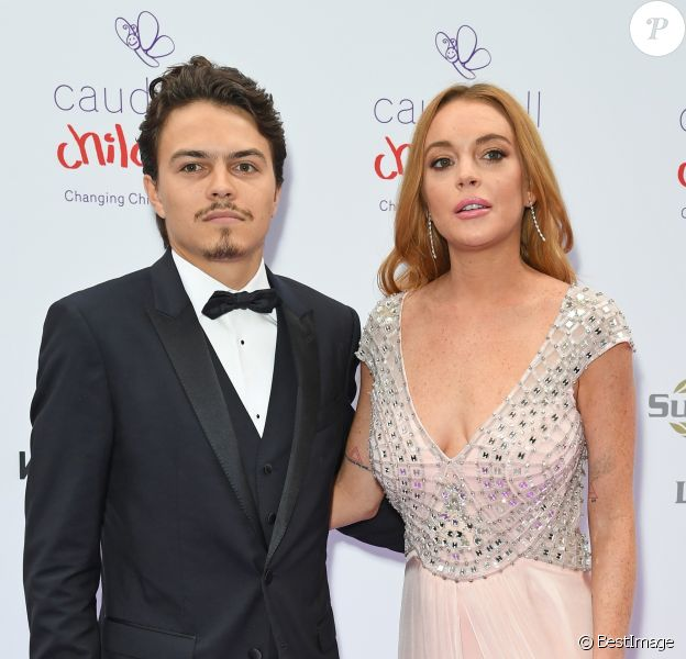 """Lindsay Lohan et son compagnon Egor Tarabasov au """"Butterfly Ball"""" au profit de l'association caritative """"Caudwell Children"""" au Grosvenor House Hotel à Londres. Le 22 juin 2016"""