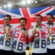 Owain Doull, Ed Clancy, Steven Burke et Sir Bradley Wiggins sur la plus haute marche du podium après leur victoire dans la poursuite par équipe aux Jeux olympiques de Rio de Janeiro le 12 août 2016. © David Davies/PA Wire/ABACAPRESS.COM