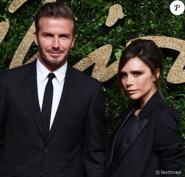 David Beckham et sa femme Victoria Beckham au British Fashion Awards 2015 à Londres, le 23 novembre 2015