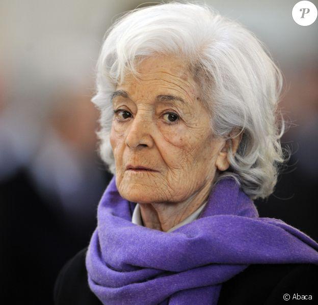 Madeleine Druon lors des obsèques de son époux Maurice Druon à l'église Saint-Louis des Invalides à Paris le 20 avril 2009HENRI TROYAT