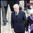 Edouard Balladur, Madeleine Druon et Nicolas Sarkozy lors des obsèques de Maurice Druon à l'église Saint-Louis des Invalides à Paris le 20 avril 2009
