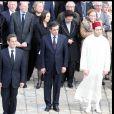 Edouard Balladur, Madeleine Druon, Nicolas Sarkozy, François Fillon et Rachid du Maroc lors des obsèques de Maurice Druon à l'église Saint-Louis des Invalides à Paris le 20 avril 2009