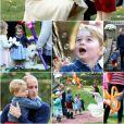 Le prince George de Cambridge (3 ans) et sa soeur la princesse Charlotte de Cambridge (1 an) ont participé, avec leurs parents le prince William et Kate Middleton, à une fête réunissant des enfants de familles de militaires canadiennes le 29 septembre 2016 à la Maison du Gouvernement à Victoria, en Colombie-Britannique, au sixième jour de la tournée royale au Canada. Photomontage Purepeople.