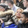 """Ludivine Payet et son fils Milan au match de qualification pour la Coupe du Monde 2018, """"France-Bulgarie"""" au Stade de France au Saint-Denis, le 7 octobre 2016"""
