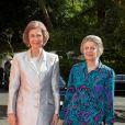 La reine Sofia d'Espagne et sa soeur Irène de Grèce au mariage du prince Leka II d'Albanie et d'Elia Zaharia à Tirana (Albanie), le 8 octobre 2016